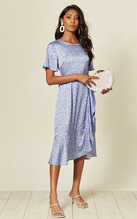 Short sleeve frill midi dress in white/purple floral print by D.Anna