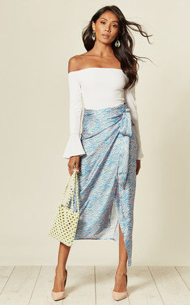 Maxi Wrap Skirt in Coral/Turquoise Animal Print by D.Anna