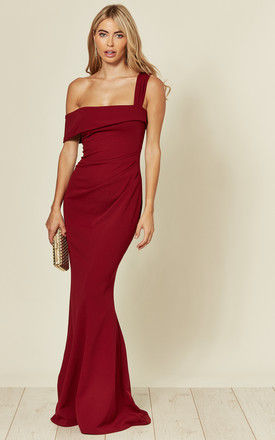 Off the Shoulder Pleated Waist Maxi Dress in Wine Red by Goddiva