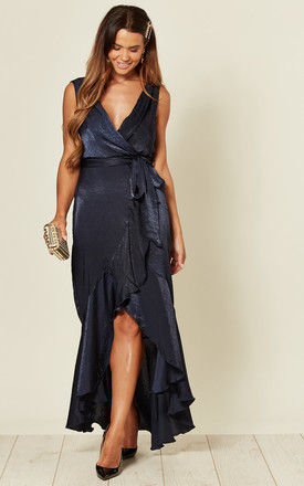 WRAP FRONT MAXI DRESS IN NAVY by FLOUNCE LONDON