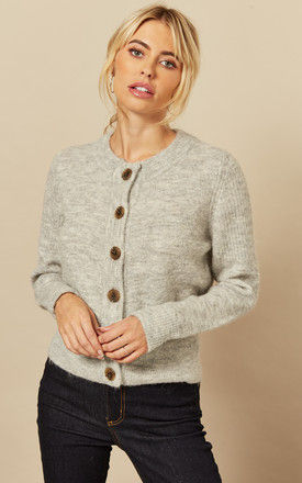 Cardigan with Contrasting Buttons in Grey by Selected Femme