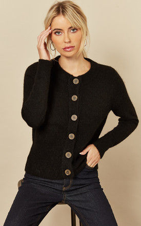 Cardigan with Contrasting Buttons in Black by Selected Femme