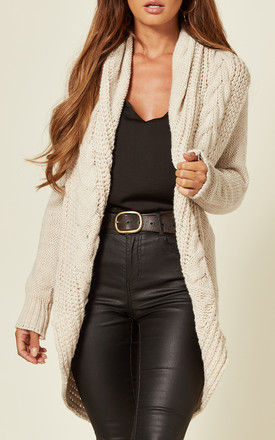 Chunky Pleat Long Cardigan in Ivory Cream by Love