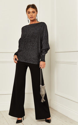 Batwing Jumper with Metallic Shimmer in Black by Bella and Blue
