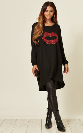 DEMI BLACK OVERSIZED BATWING TOP WITH SEQUIN LIPS by Blue Vanilla