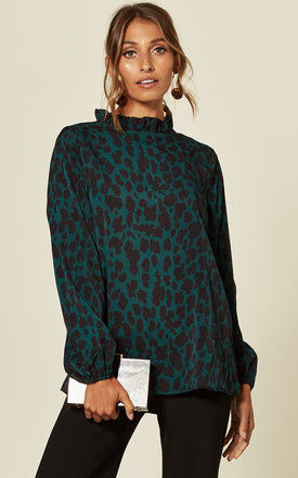 Long Sleeve Top in Green Leopard Print by AX Paris
