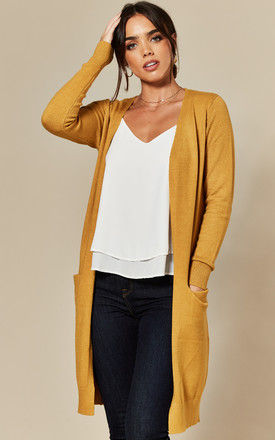 Longline Cardigan with Pockets in yellow by JDY