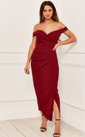 Off the Shoulder Ruched Maxi Dress in Burgundy by Bella and Blue