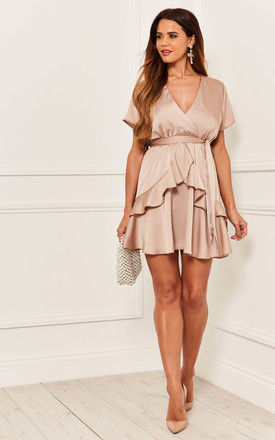 Silky Mini Dress with Peplum Detail in Dusty Pink by Bella and Blue