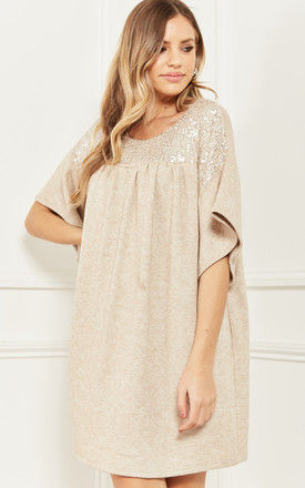 Tunic Dress with Sequin Detail in Beige by Bella and Blue
