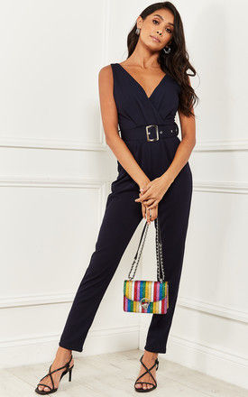Wrap Over Jumpsuit with Belt Navy by Bella and Blue
