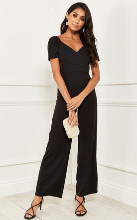 Jumpsuit With Short Sleeve and Tie back in Black by Bella and Blue