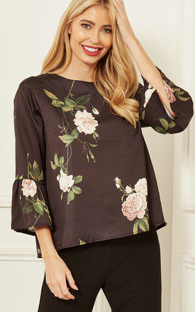Blouse with 3/4 Sleeve in Black Floral by Bella and Blue