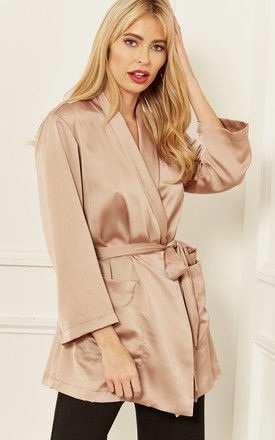 Silky Wrap Over Top in Beige by Bella and Blue