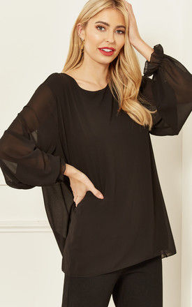 Sheer Sleeve Blouse in Black by Bella and Blue
