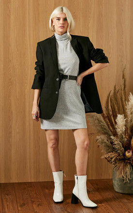Knitted Dress with Roll Neck in Light Grey by VM
