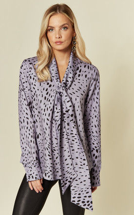 Exclusive Long Sleeve Top with Pussybow in Purple Dalmation by Glamorous