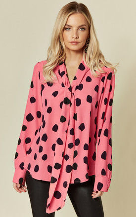 Pussybow Printed Long Sleeve Blouse Pink Spot Print by Glamorous