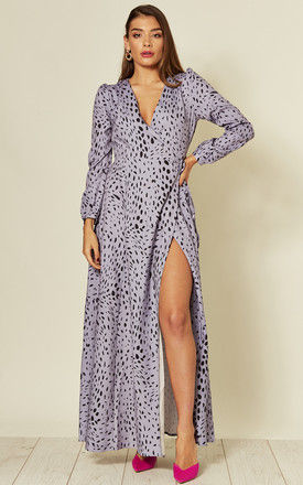 Wrap Over Long Sleeve Maxi Dress in Purple Dalmatian Print by Glamorous