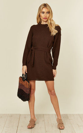 Long Sleeve Brown Belted Jumper Dress by Glamorous