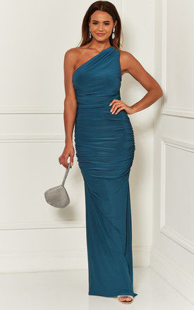 Angelina Teal one shoulder bridesmaid dress by Revie London