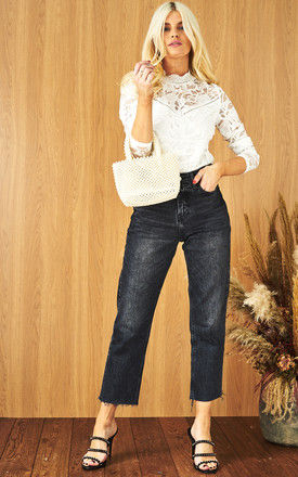 White Lace Long Sleeve Top by VILA