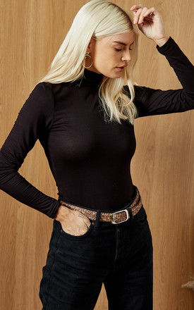 High Neck Long Sleeve Fitted Top in Black by Selected Femme