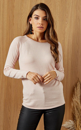 Long Sleeve Knitted Jumper In Light Pink by VM