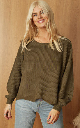 Ribbed Oversized Jumper in Green by ONLY