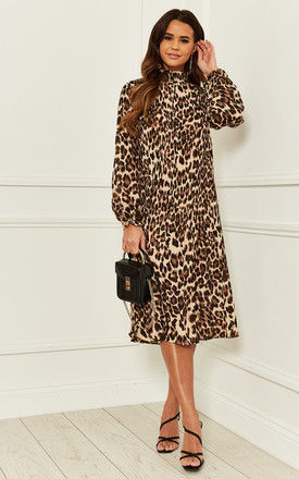 Shirred Midi Dress in Leopard Print by Bella and Blue