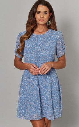 AMNA Ruched Sleeve Tea Dress in Blue Dotty Print by Blue Vanilla
