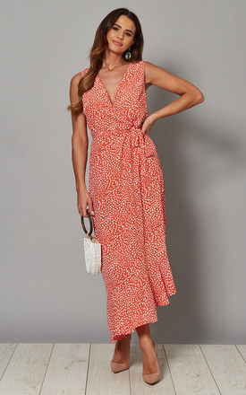 FIONA Asymmetric Wrap Front Maxi Dress in Red Print by Blue Vanilla