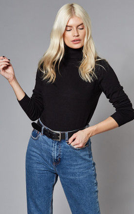 Roll Neck Knitted Top in Black by VILA