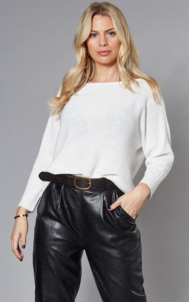 Boatneck Knitted Top in White by VM