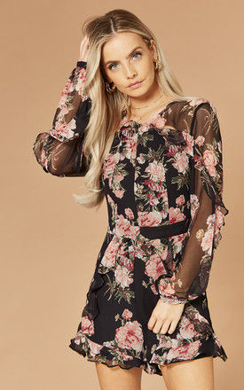 PAIGE PLAYSUIT IN BLACK FLORAL PRINT by Bardot