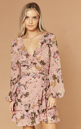 Mini Wrap Dress with frills in pink floral by Bardot