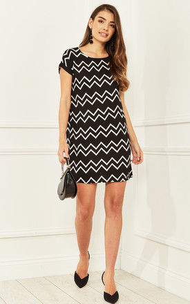 Short Sleeved Mini Dress in Black Aztec Print by Bella and Blue