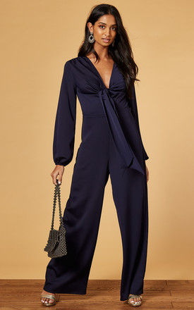 SATIN JUMPSUIT WITH TIE FRONT IN NAVY by Phoenix & Feather