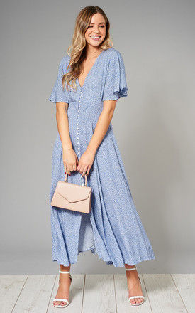 MEGAN Blue Floral Button Front Maxi Dress with Shirred Back by Blue Vanilla