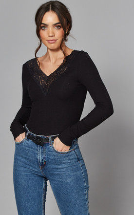 Long Sleeve Top with Lace V Neck in Black by Pieces