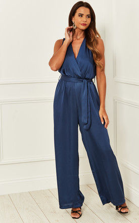 Silky Wrap Over Jumpsuit with Tie Waist in Blue by Bella and Blue
