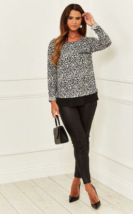 Long Sleeve Top with Black Hem in Grey Leopard by Bella and Blue