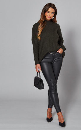 Jumper with High Neck in Darkest Green by Selected Femme
