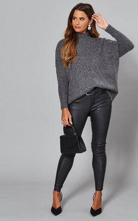 Jumper with High Neck in Medium Grey by Selected Femme