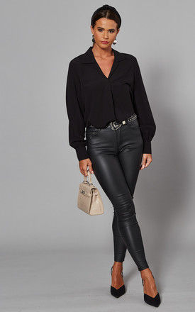 Black Long Sleeve V Neck Collared Blouse by Selected Femme