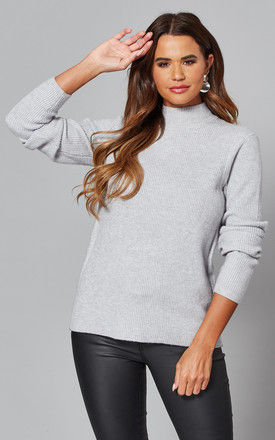 Knitted Top with High neck in Grey by VILA