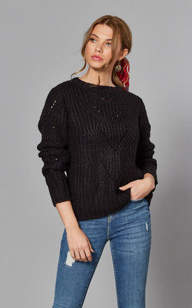 Jumper With Patterned Knit In Black by Noisy May