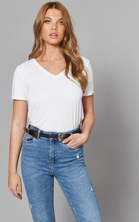 Short Sleeve V Neck Tee in White by ONLY