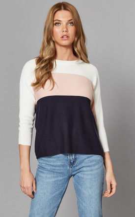 Colour Block Jumper in White, Pink and Navy by ONLY