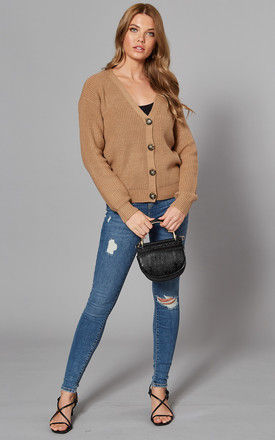 V Neck Button Cardigan in Brown Tan by Pieces